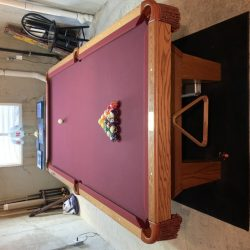 Olhausen 8' three piece slate table with all accessories, Budweiser over table light, Budweiser clck